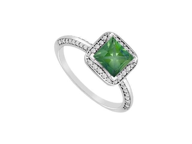 May Birthstone Princess-Cut Emerald  Diamond Engagement Ring 14K White Gold 1.10 CT TGW