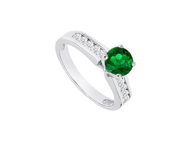 Emerald and Diamond Engagement Ring 14K White Gold  0.80 CT TGW