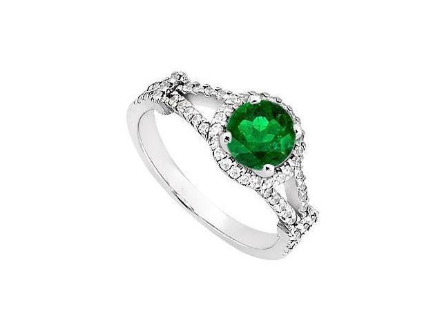 May Birthstone Created Emerald  CZ Split Shank Halo Engagement Rings 14K White Gold 1 CT TGW