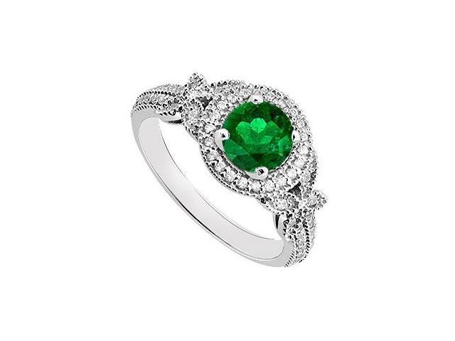May Birthstone Created Emerald  Cz Halo Engagement Rings 14K White Gold 0.80 CT TGW