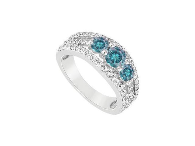 Blue Diamond Engagement Ring  14K White Gold - 1.00 CT Diamonds
