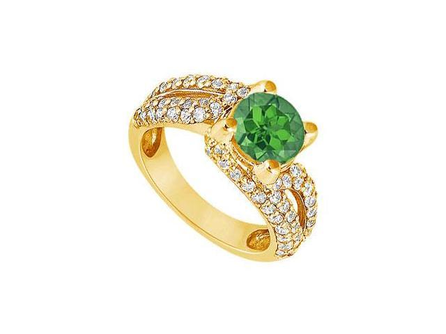 Emerald and Diamond Engagement Ring  14K Yellow Gold - 1.00 CT TGW
