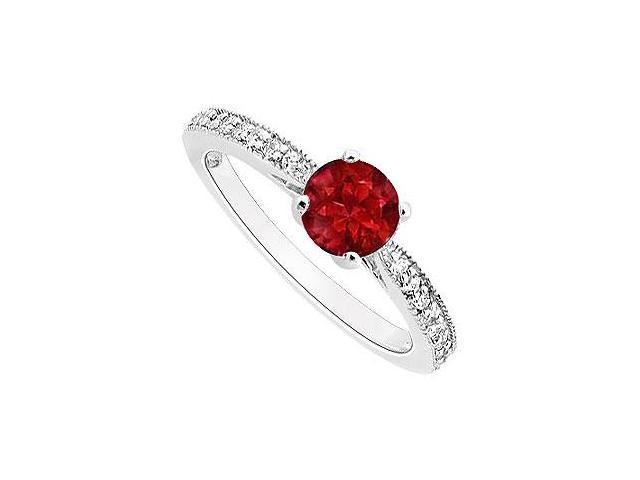 Perfect Engagement Ring Birthstones Rubies and Cubic Zirconia 14k White Gold