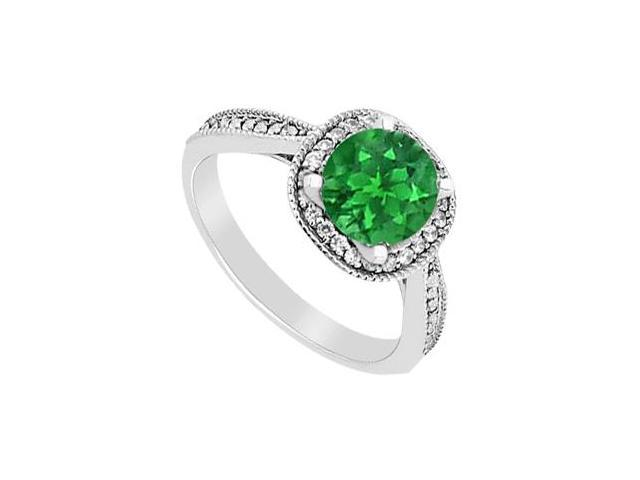May Birthstone Natural Emerald   Diamond Halo Engagement Ring 14K White Gold 1.05 CT TGW