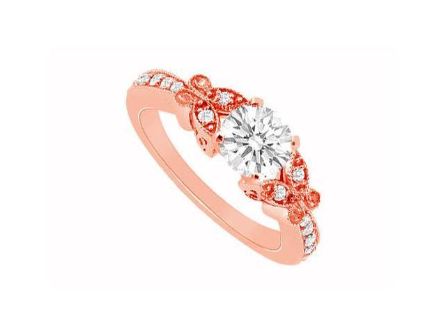 April Birthstone Diamond Butterfly Engagement Ring in 14K Rose Gold 0.66 CT TDW