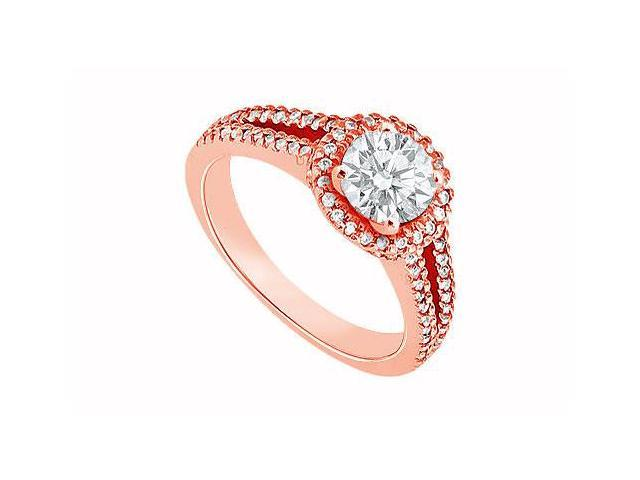 Split Shank Engagement Rings with Diamonds in 14K Rose Gold 1.00 CT TDW