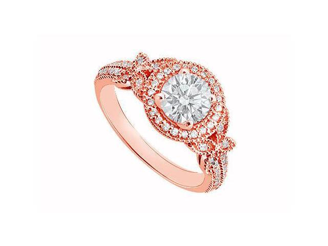 April Birthstone Diamond Halo Engagement Ring in 14K Rose Gold 0.80 CT TDW