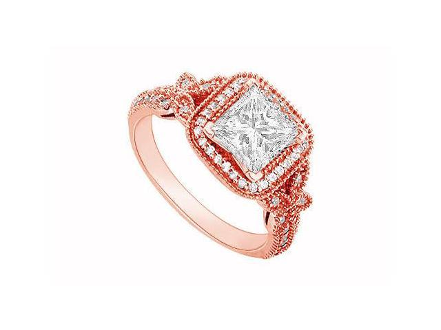 April Birthstone Diamond Halo Engagement Ring in 14K Rose Gold 0.60 CT TDW
