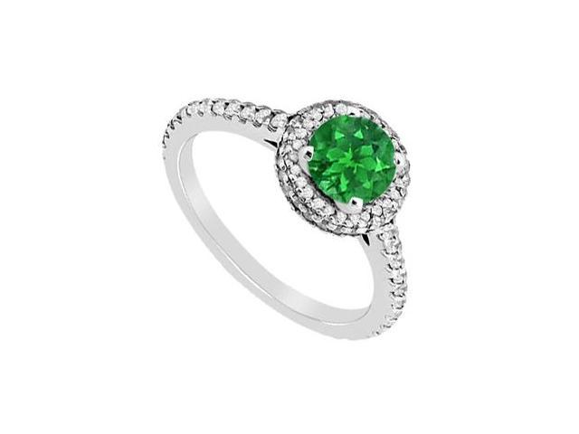 May Birthstone Natural Green Emerald  Diamond Engagement Ring in 14K White Gold 1.35 CT TGW