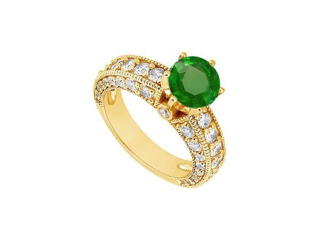 Emerald and Diamond Engagement Ring  14K Yellow Gold - 2.00 CT TGW