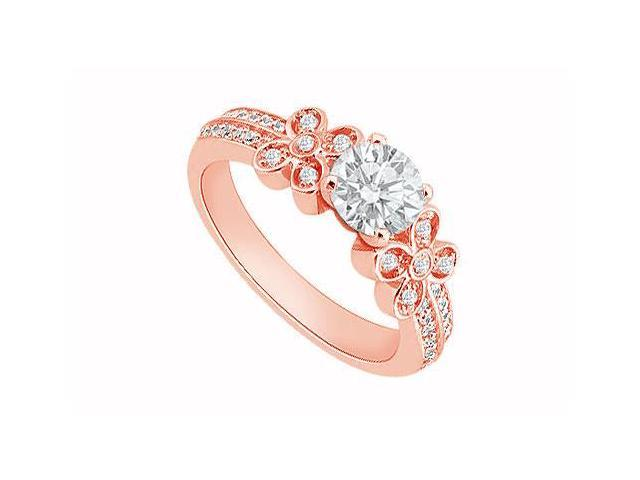 April Birthstone Diamond Halo Engagement Ring in 14K Rose Gold 0.75 CT TDW