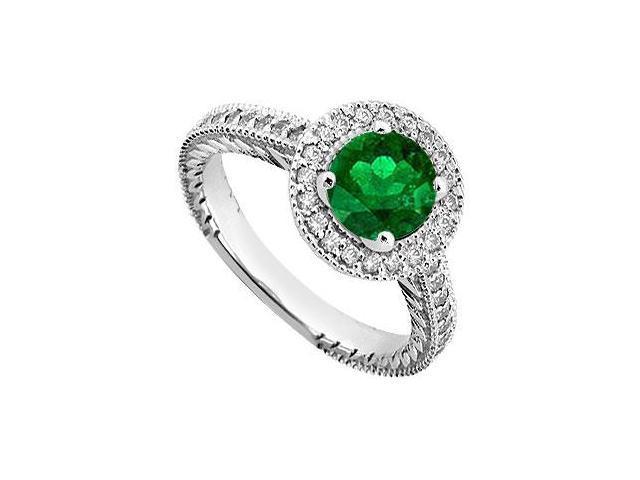 May Birthstone Created Emerald  Cz Halo Milgrain Engagement Rings 14K White Gold 0.85.CT TGW