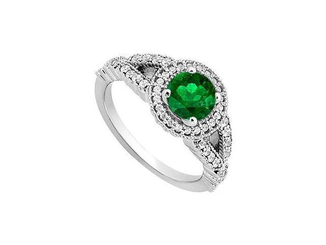 May Birthstone Created Emerald and CZ Halo Engagement Rings 14K White Gold 0.85 CT TGW