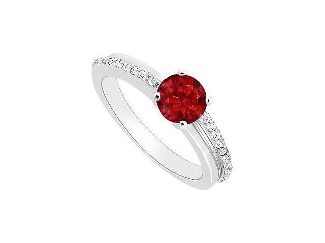 Engagement Ring in 14k White Gold Birthstones Rubies nd Gemstones Cubic Zirconia