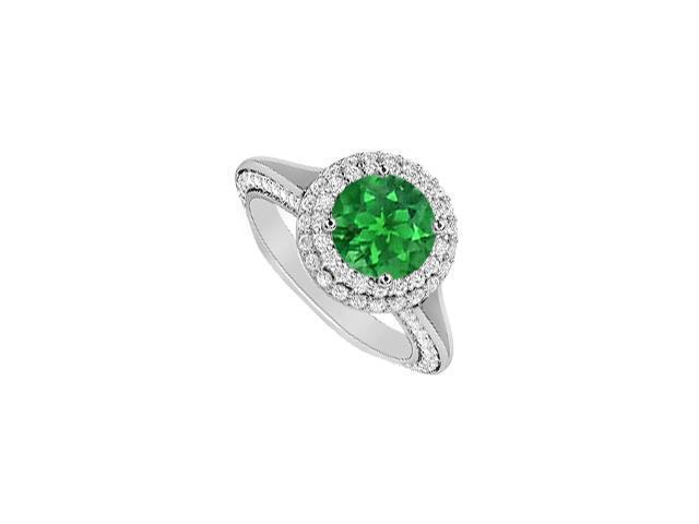 May Birthstone Emerald and Diamond Halo Engagement Ring in 14K White Gold 2.00 CT TGW