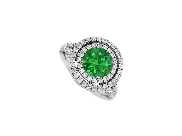 May Birthstone Emerald  Diamond Halo Engagement Ring in 14K White Gold 2 CT TGW