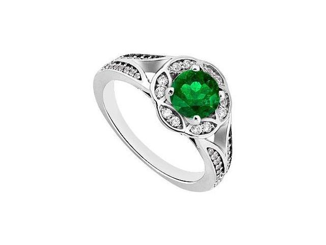 May Birthstone Created Emerald  Cz Floral Engagement Rings 14K White Gold 0.75.CT TGW