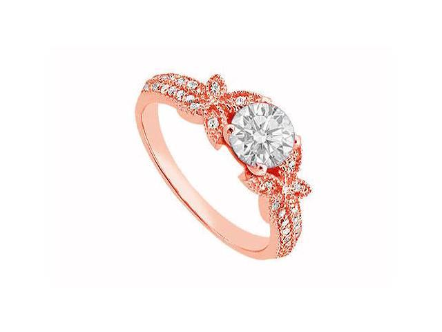 April Birthstone Diamond Halo Engagement Ring in 14K Rose Gold 0.70 CT TDW