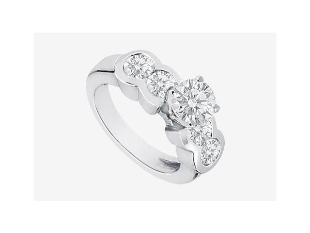 Channel Set Round Diamond Engagement Ring in 14K White Gold 2.20 Carat Diamonds