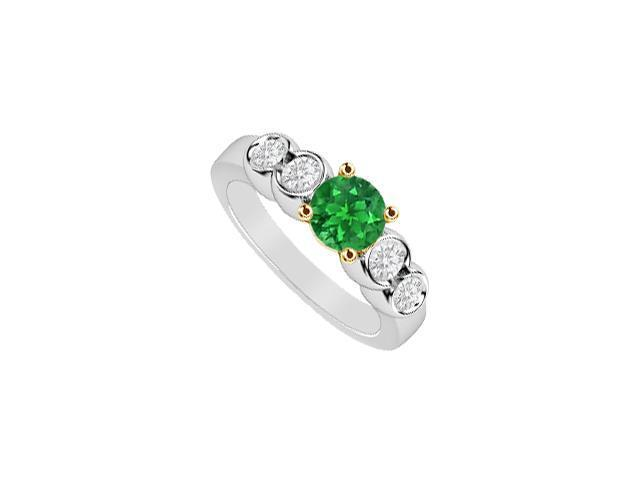 May Birthstone Natural Emerald and Diamond Five Stone Engagement Ring 14K Two Tone Gold 1 CT TGW