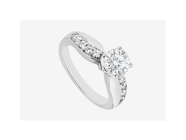 Diamond Engagement Ring with half a carat center diamond in 14K White Gold 0.75 carat TDW