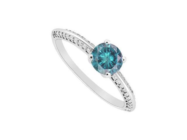 Blue Diamond Engagement Ring  14K White Gold - 0.75 CT Diamonds