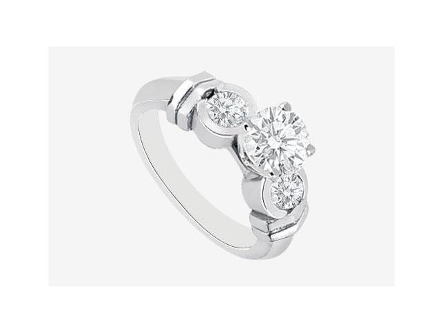 Engagement Ring Diamond Half Carat Center in 14K White Gold 0.90 ct. Diamonds