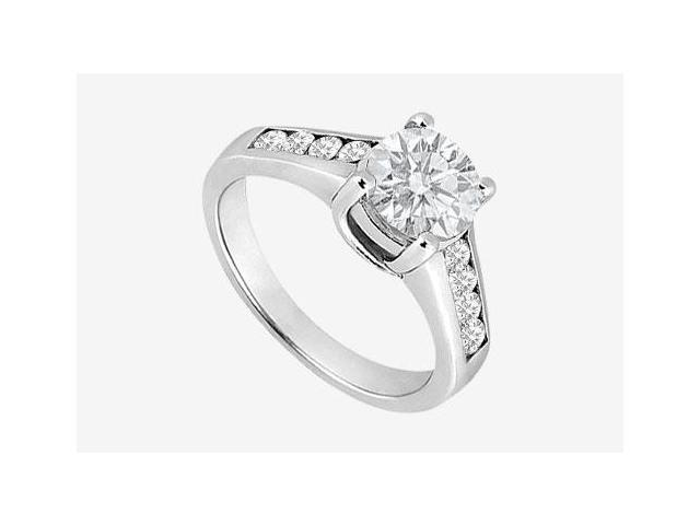 1 carat Center Diamond Engagement Ring in 14K White Gold 1.40 Carat TDW