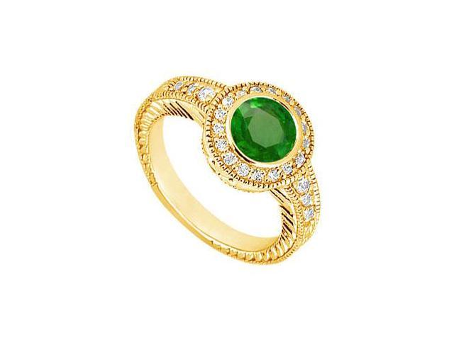 Emerald and Diamond Engagement Ring  14K Yellow Gold - 0.75 CT TGW