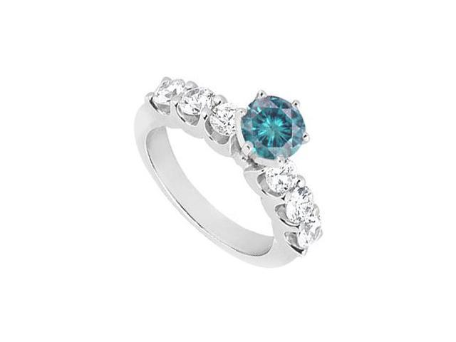 Fancy Blue Diamond Ring  14K White Gold - 1.90 CT Diamonds