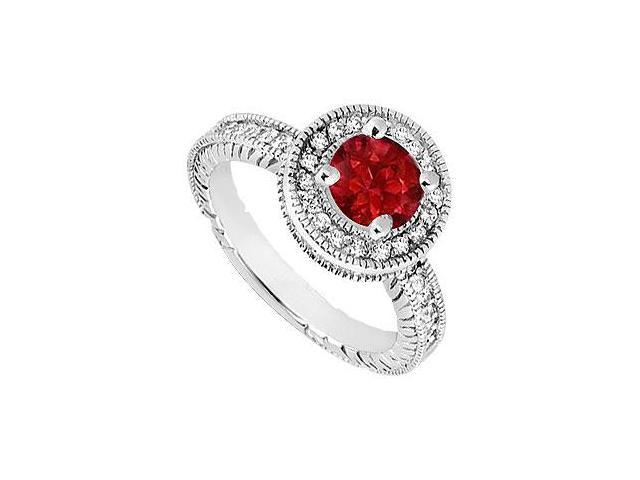Halo Engagement Ring Birthstones Rubies and Cubic Zirconia 14K White Gold 1.5 CT TGW