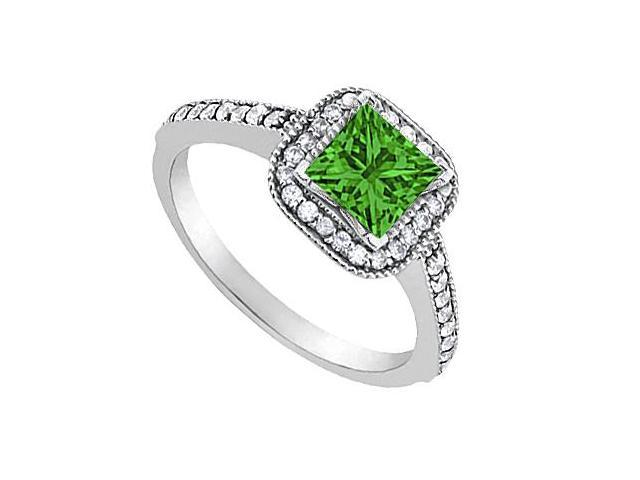 May Birthstone Created Emerald Engagement Ring with CZ in 14K White Gold 0.85 CT TGW