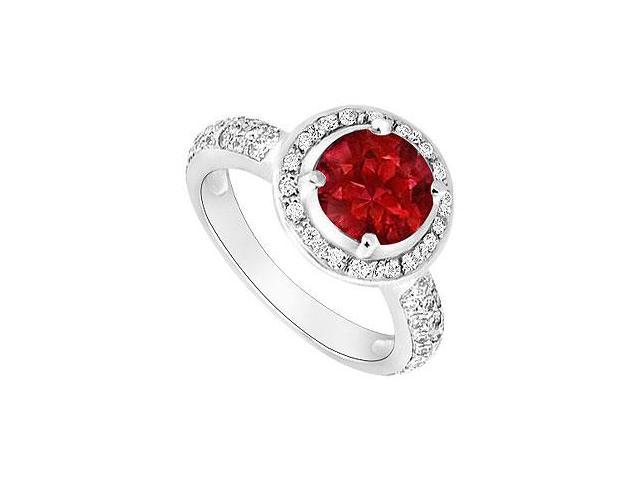 Engagement Ring in 14K White Gold Birthstones Rubies nd Gemstones Cubic Zirconia