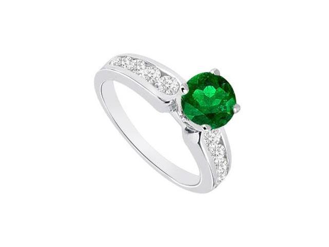 May Birthstone Created Emerald and CZ Engagement Rings 14K White Gold 1.10 CT TGW