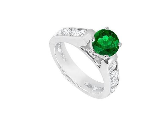 May Birthstone Created Emerald  CZ Engagement Rings 14K White Gold 1.10 CT TGW