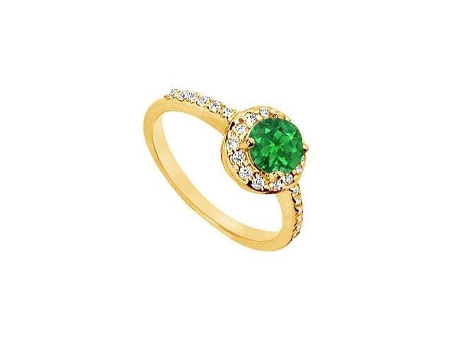 Emerald and Diamond Engagement Ring  14K Yellow Gold - 1.50 CT TGW