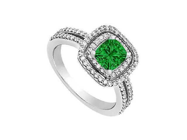May Birthstone Created Emerald  CZ Halo Engagement Ring in 14K White Gold 1.20 CT TGW