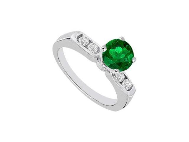 May Birthstone Created Emerald and CZ Engagement Rings 14K White Gold 0.66 CT TGW