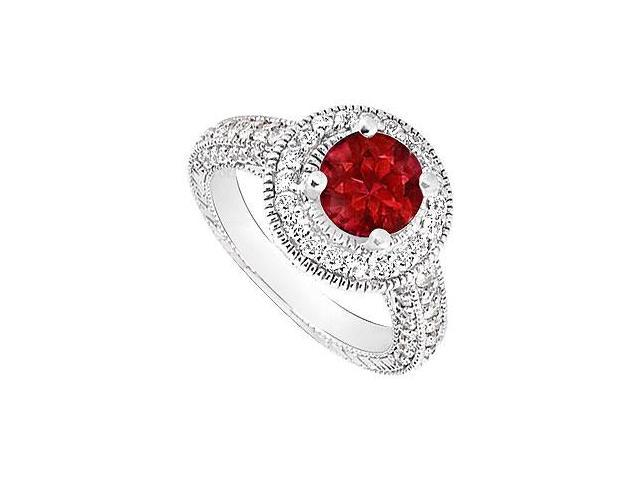 Engagement Ring Birthstones Rubies and Cubic Zirconia Gemstones 14K White Gold
