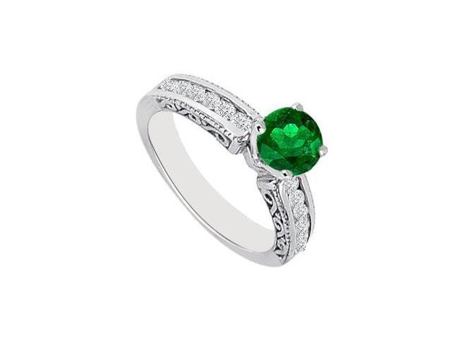 May Birthstone Created Emerald  CZ Filigree Engagement Rings 14K White Gold 0.75 CT TGW