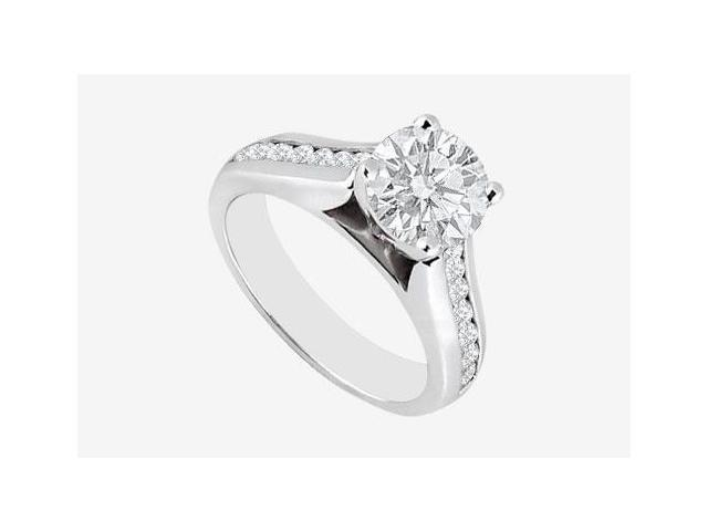 Channel set Diamond Engagement Ring 1.10 carat Diamonds in 14K White Gold