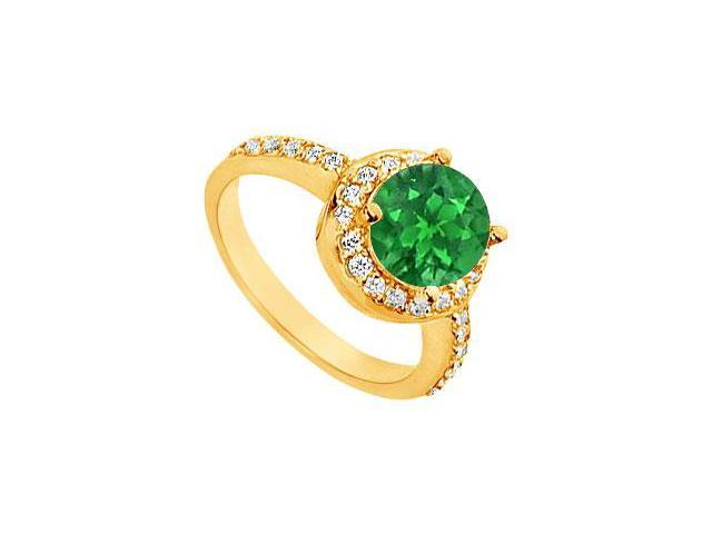 Emerald and Diamond Engagement Ring  14K Yellow Gold - 2.50 CT TGW
