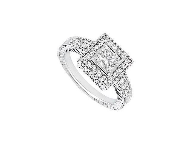 Princess Cut Diamond Halo Engagement Ring 14K White Gold  0.75 CT TDW