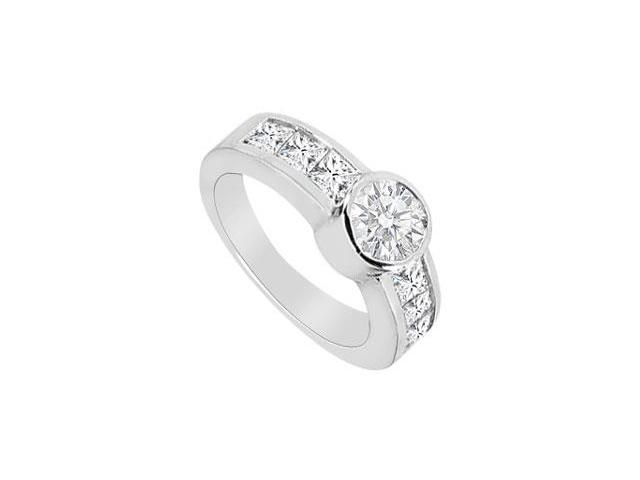 Diamond Bezel Set Engagement Ring in 14K White Gold with 1.75 Carat TGW