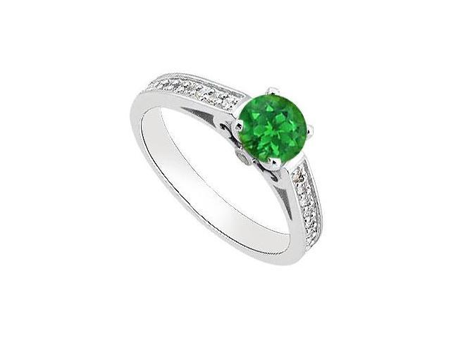May Birthstone Green Emerald  Diamond Engagement Ring in 14K White Gold 1 CT TGW