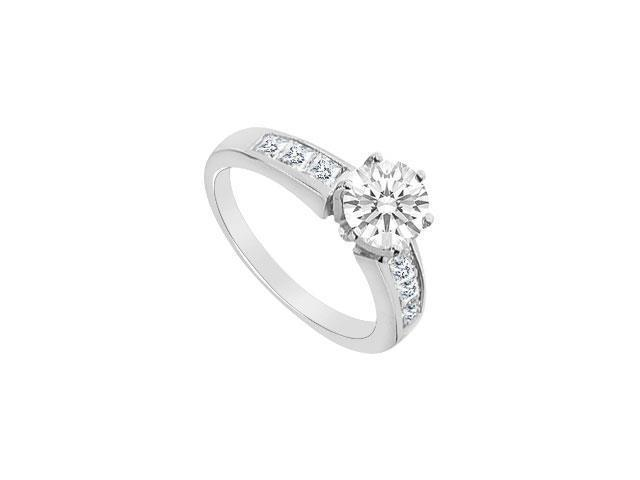14K White Gold Princess Cut Diamond Engagement Ring with 1.05 carats Diamonds