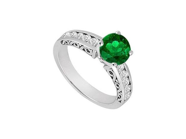 May Birthstone Created Emerald  Cz Filigree Engagement Rings 14K White Gold 0.80 CT TGW