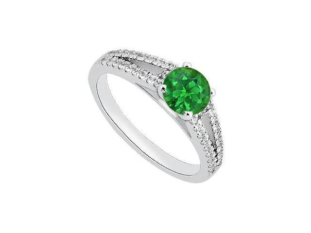 May Birthstone Emerald and Diamond Split Shank Engagement Ring 14K White Gold 1.05 CT TGW