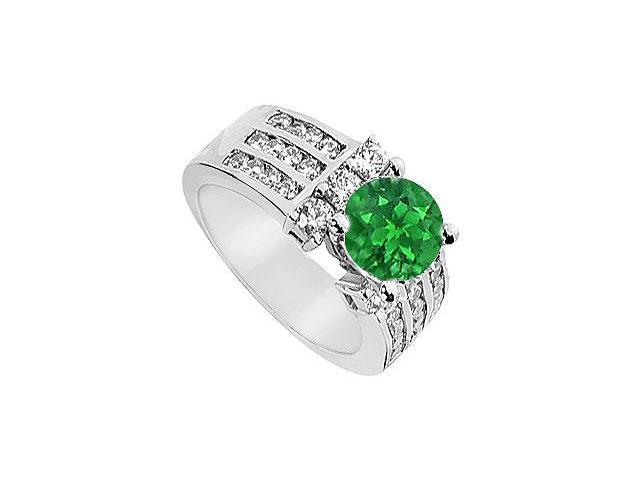 Emerald and Diamond Engagement Ring  14K White Gold - 2.25 CT TGW