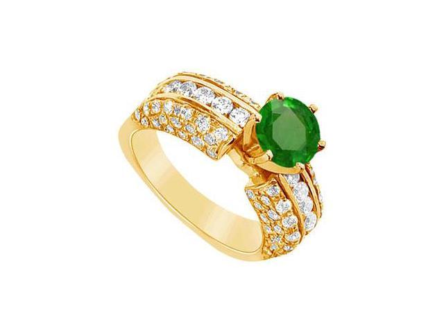 Emerald and Diamond Engagement Ring  14K Yellow Gold - 3.25 CT TGW